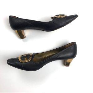 Prada Shoes - Prada Shoes 39.5 dark brown leather gold buckle